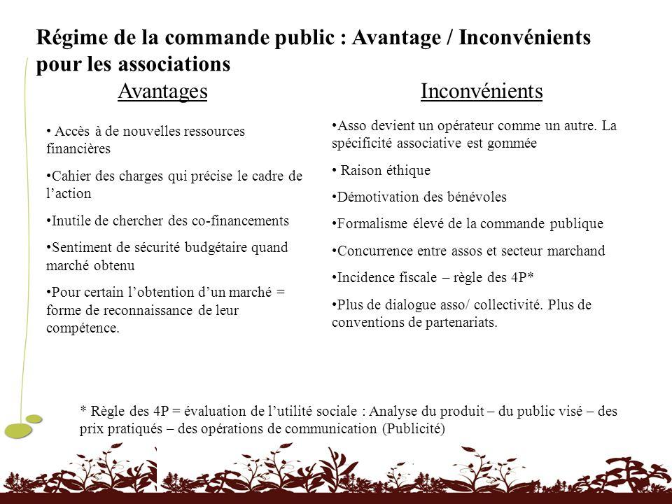 Régime de la commande public : Avantage / Inconvénients pour les associations AvantagesInconvénients Accès à de nouvelles ressources financières Cahie