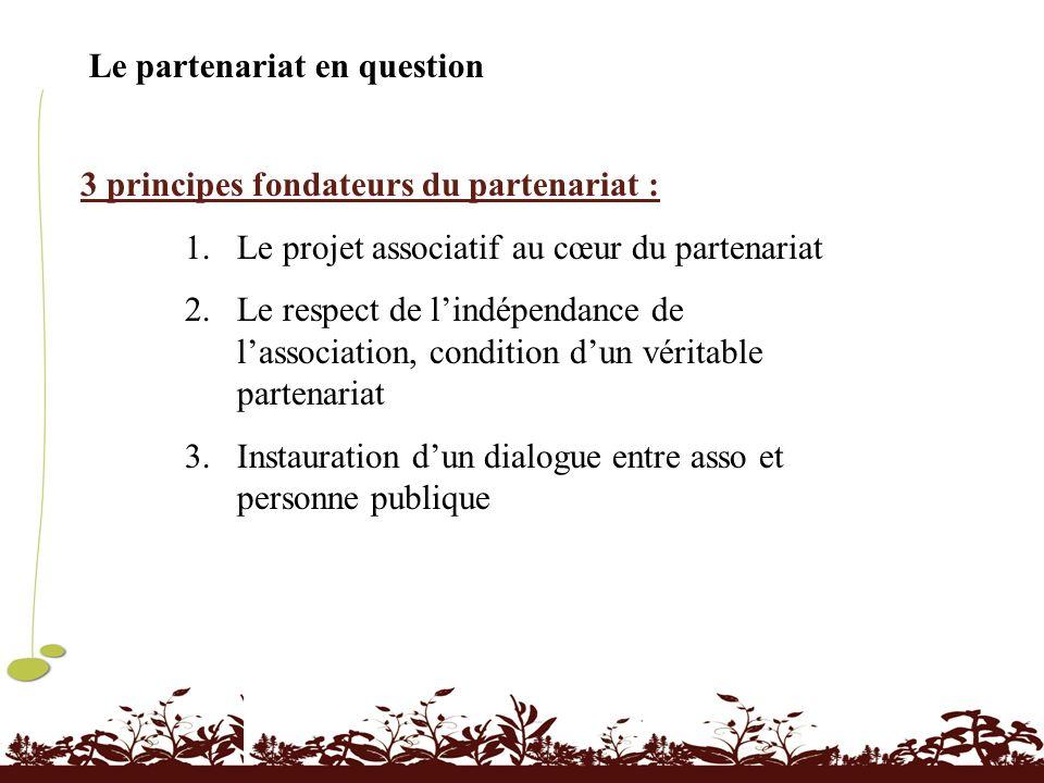 Le partenariat en question 3 principes fondateurs du partenariat : 1.Le projet associatif au cœur du partenariat 2.Le respect de lindépendance de lass