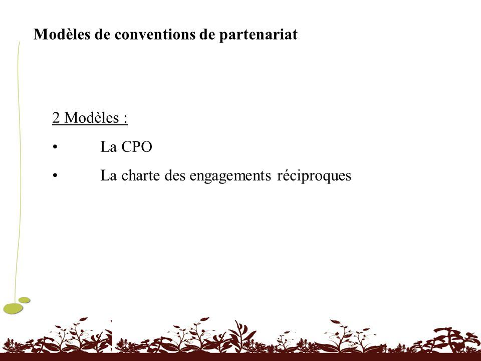 Modèles de conventions de partenariat 2 Modèles : La CPO La charte des engagements réciproques
