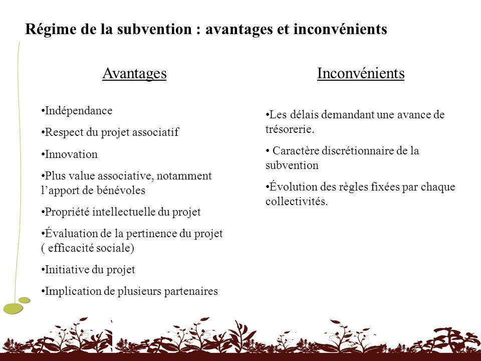 Régime de la subvention : avantages et inconvénients Avantages Indépendance Respect du projet associatif Innovation Plus value associative, notamment