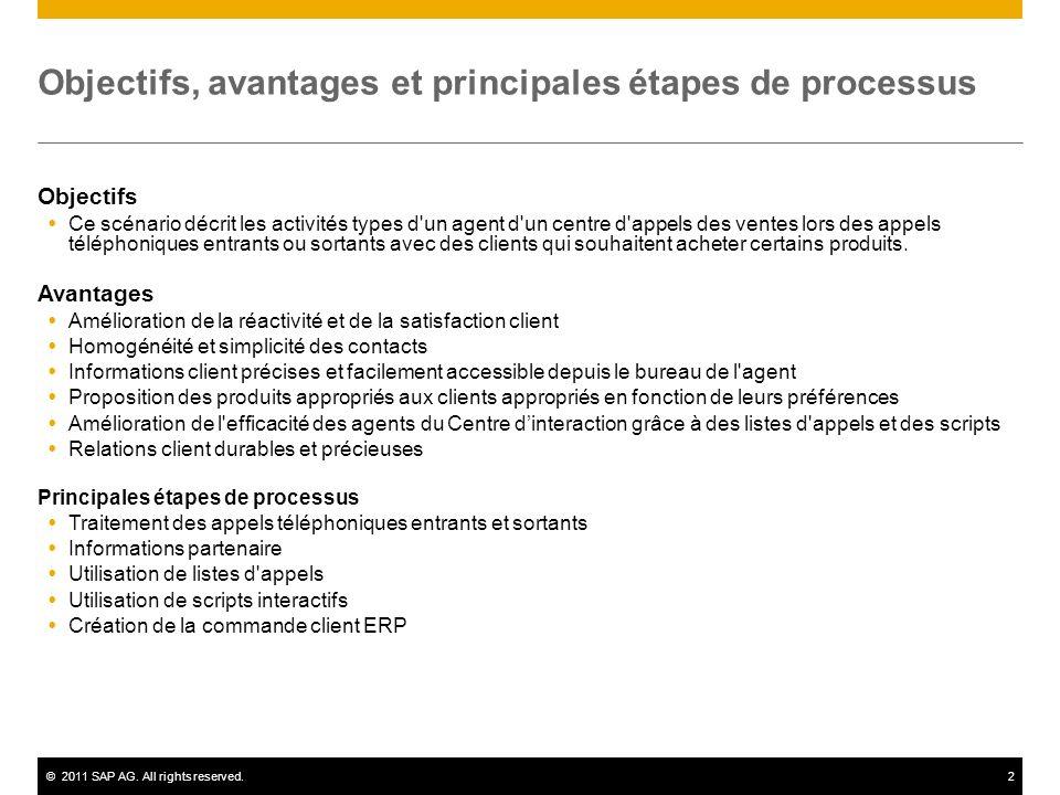 ©2011 SAP AG. All rights reserved.2 Objectifs, avantages et principales étapes de processus Objectifs Ce scénario décrit les activités types d'un agen