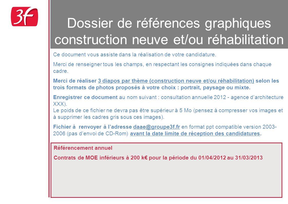 Dossier de références graphiques construction neuve et/ou réhabilitation Référencement annuel Contrats de MOE inférieurs à 200 k pour la période du 01/04/2012 au 31/03/2013 Ce document vous assiste dans la réalisation de votre candidature.