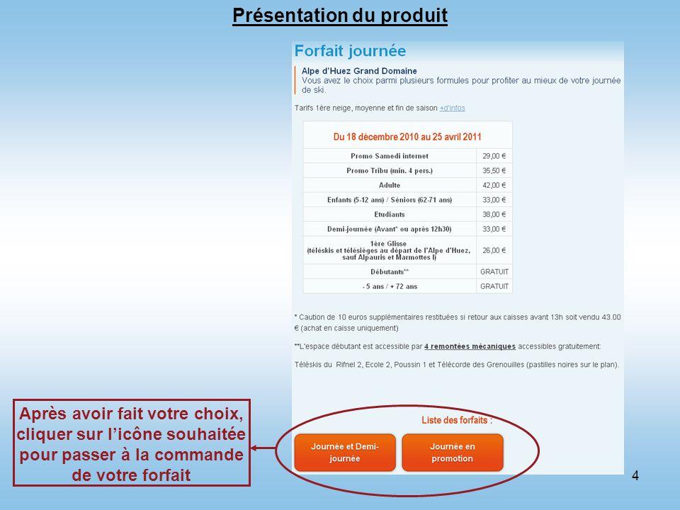 4 Présentation du produit Après avoir fait votre choix, cliquer sur licône souhaitée pour passer à la commande de votre forfait