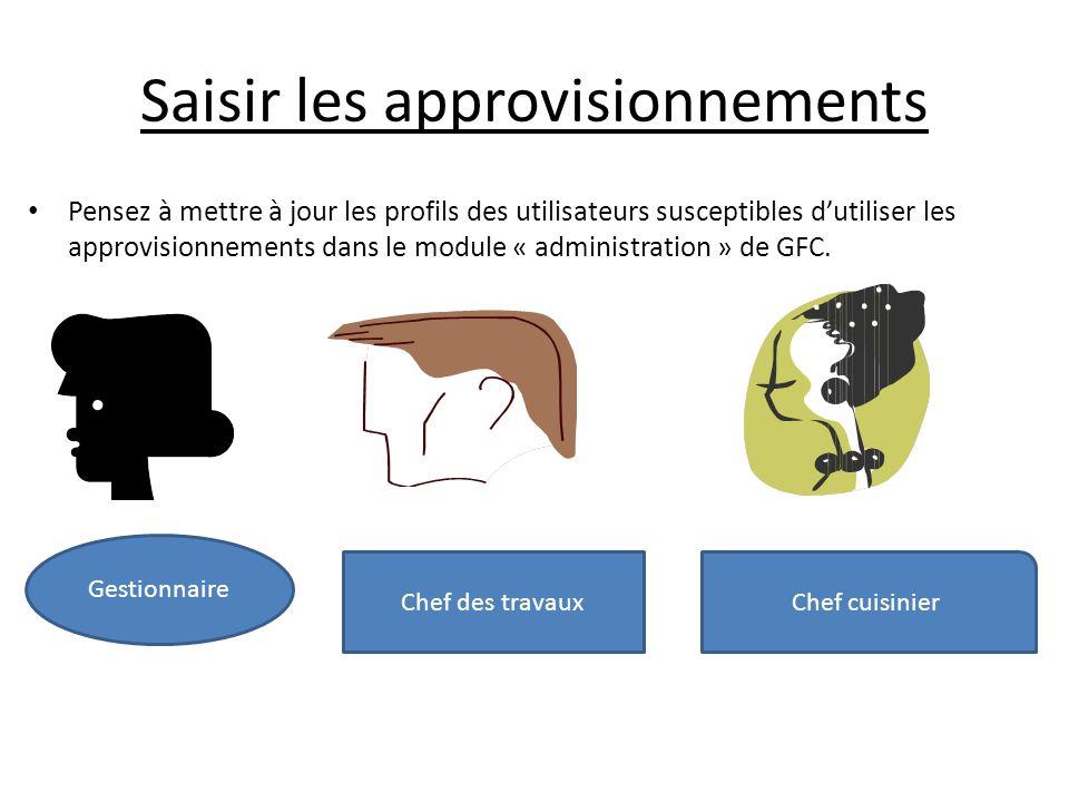 Saisir les approvisionnements Pensez à mettre à jour les profils des utilisateurs susceptibles dutiliser les approvisionnements dans le module « administration » de GFC.
