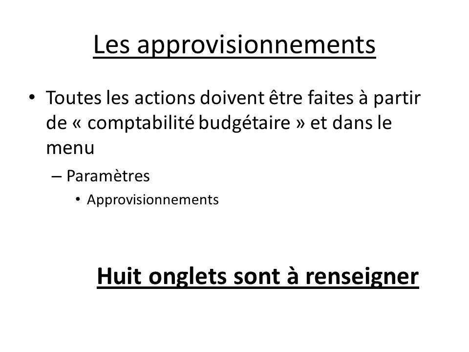 Les approvisionnements Toutes les actions doivent être faites à partir de « comptabilité budgétaire » et dans le menu – Paramètres Approvisionnements Huit onglets sont à renseigner