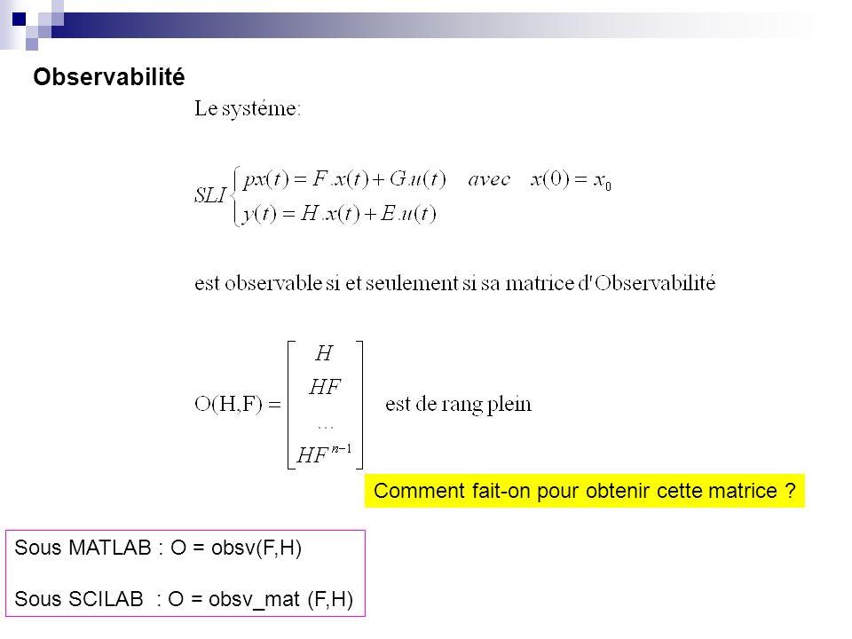 Observabilité Sous MATLAB : O = obsv(F,H) Sous SCILAB : O = obsv_mat (F,H) Comment fait-on pour obtenir cette matrice ?