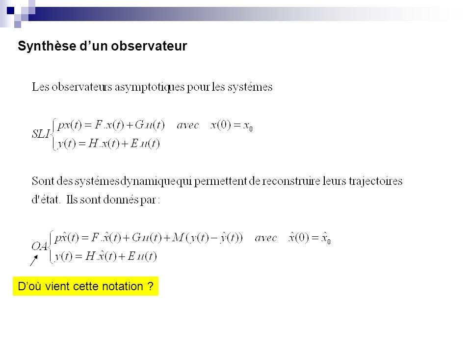 Synthèse dun observateur Doù vient cette notation ?
