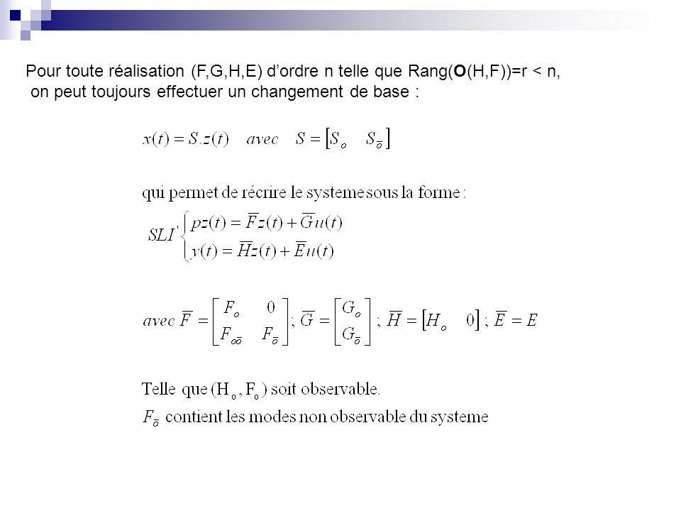 Pour toute réalisation (F,G,H,E) dordre n telle que Rang(O(H,F))=r < n, on peut toujours effectuer un changement de base :