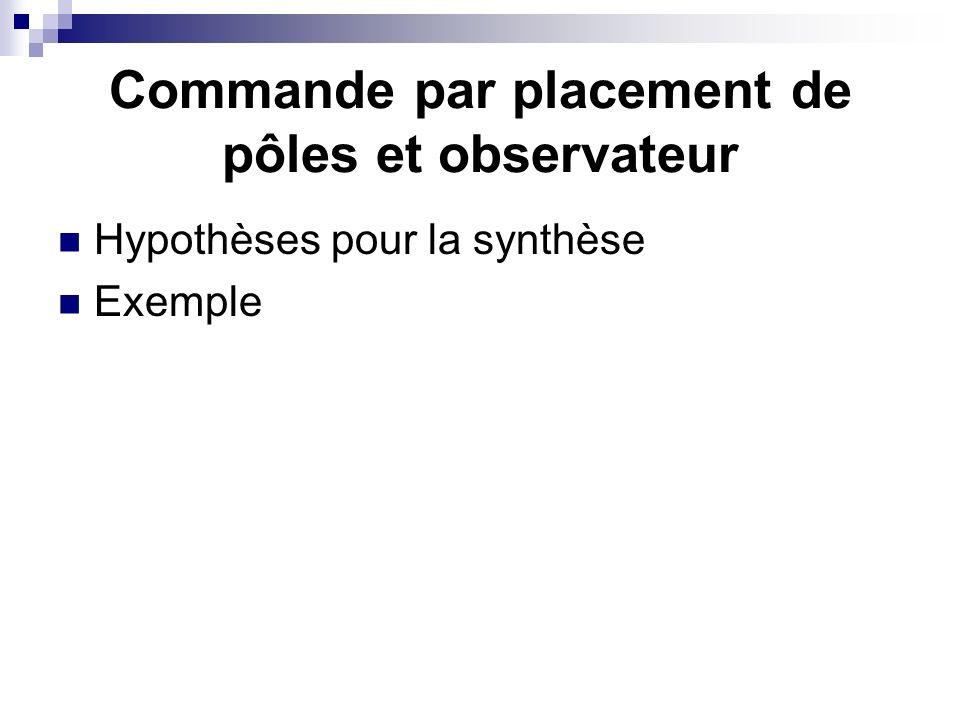 Commande par placement de pôles et observateur Hypothèses pour la synthèse Exemple