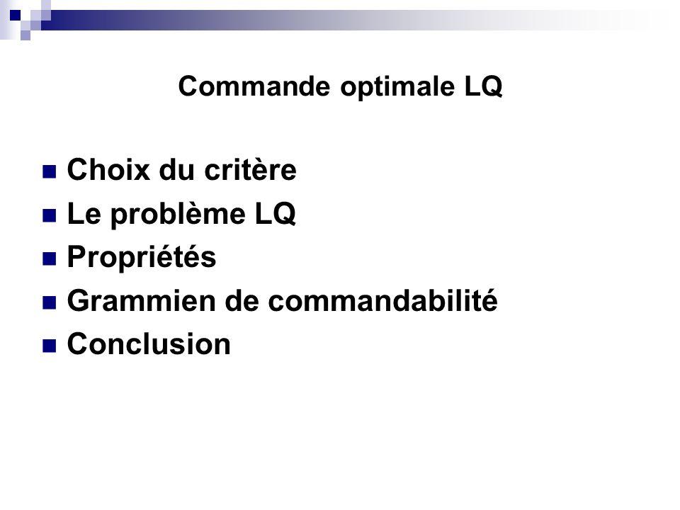 Commande optimale LQ Choix du critère Le problème LQ Propriétés Grammien de commandabilité Conclusion