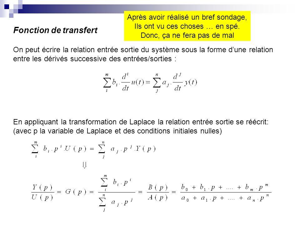 Fonction de transfert On peut écrire la relation entrée sortie du système sous la forme dune relation entre les dérivés successive des entrées/sorties : En appliquant la transformation de Laplace la relation entrée sortie se réécrit: (avec p la variable de Laplace et des conditions initiales nulles) Après avoir réalisé un bref sondage, Ils ont vu ces choses … en spé.
