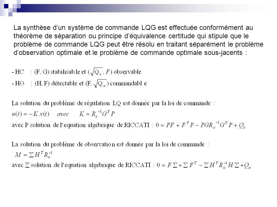 La synthèse dun système de commande LQG est effectuée conformément au théorème de séparation ou principe déquivalence certitude qui stipule que le problème de commande LQG peut être résolu en traitant séparément le problème dobservation optimale et le problème de commande optimale sous-jacents :