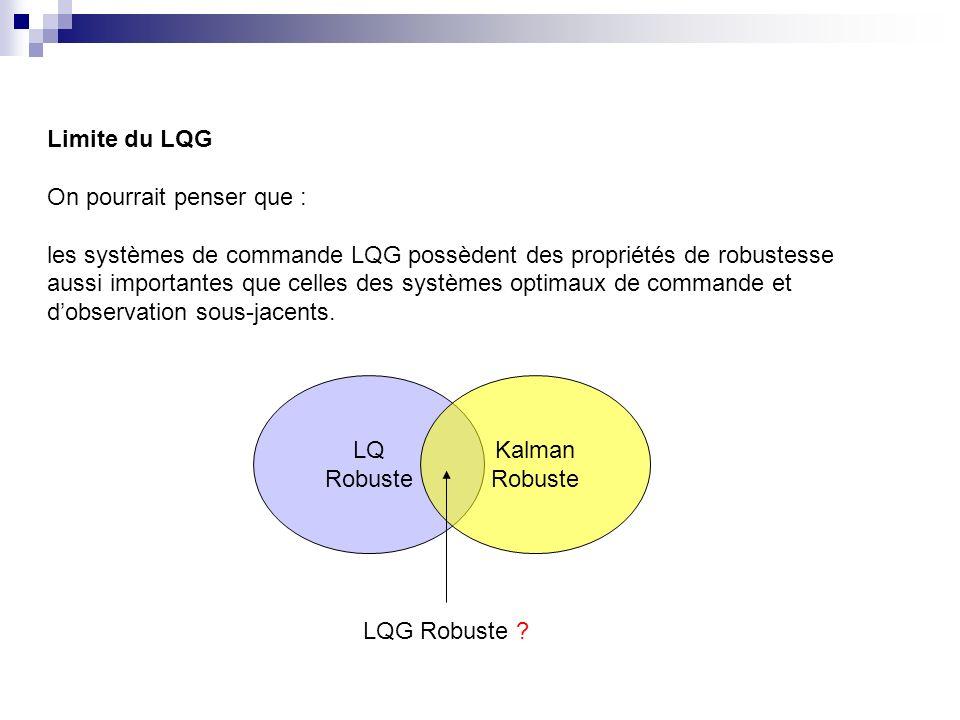 Limite du LQG On pourrait penser que : les systèmes de commande LQG possèdent des propriétés de robustesse aussi importantes que celles des systèmes optimaux de commande et dobservation sous-jacents.