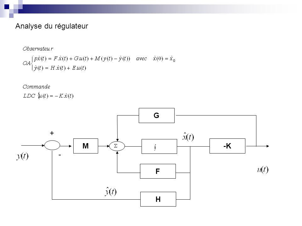 G F H M + - -K Analyse du régulateur
