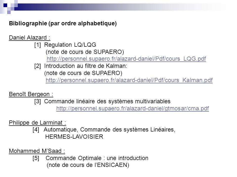 Bibliographie (par ordre alphabetique) Daniel Alazard : [1] Regulation LQ/LQG (note de cours de SUPAERO) http://personnel.supaero.fr/alazard-daniel/Pd