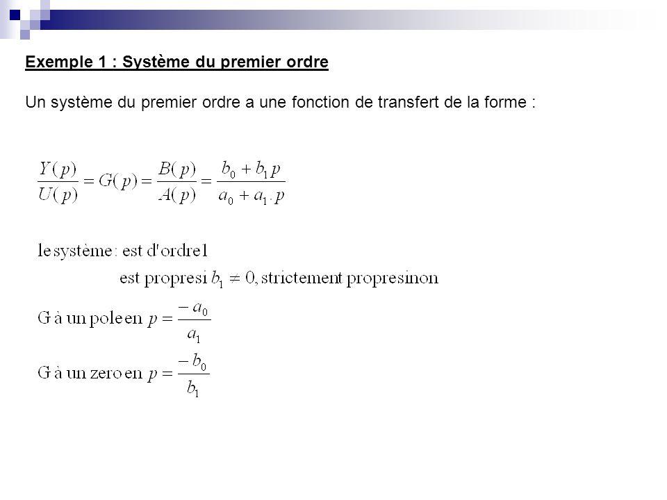 Exemple 1 : Système du premier ordre Un système du premier ordre a une fonction de transfert de la forme :