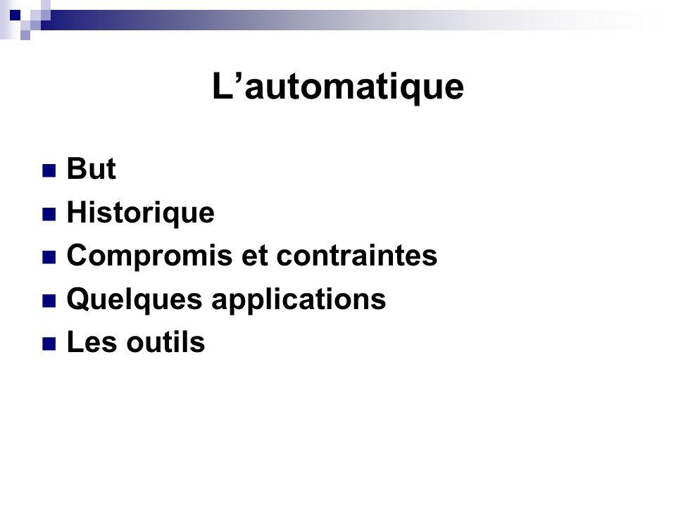 Lautomatique But Historique Compromis et contraintes Quelques applications Les outils