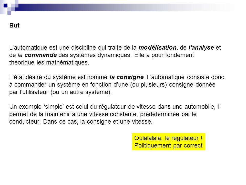 But L automatique est une discipline qui traite de la modélisation, de l analyse et de la commande des systèmes dynamiques.