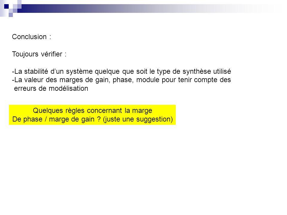 Conclusion : Toujours vérifier : -La stabilité dun système quelque que soit le type de synthèse utilisé -La valeur des marges de gain, phase, module p