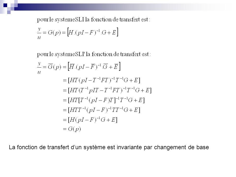 La fonction de transfert dun système est invariante par changement de base