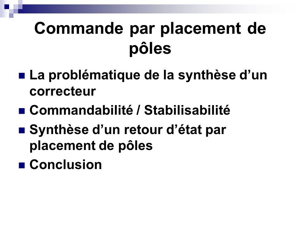 Commande par placement de pôles La problématique de la synthèse dun correcteur Commandabilité / Stabilisabilité Synthèse dun retour détat par placemen