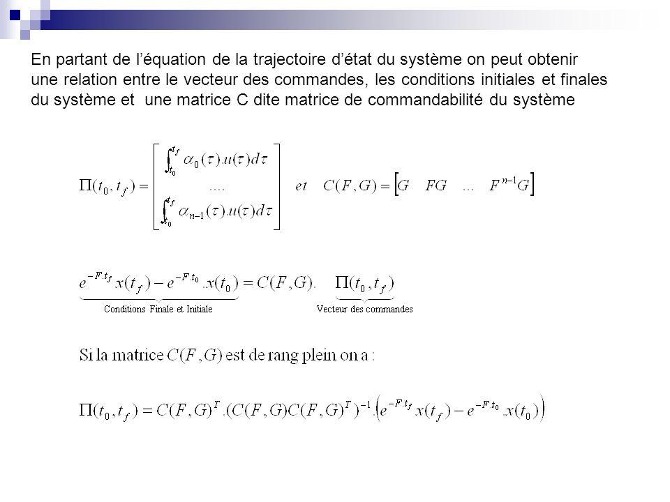 En partant de léquation de la trajectoire détat du système on peut obtenir une relation entre le vecteur des commandes, les conditions initiales et finales du système et une matrice C dite matrice de commandabilité du système