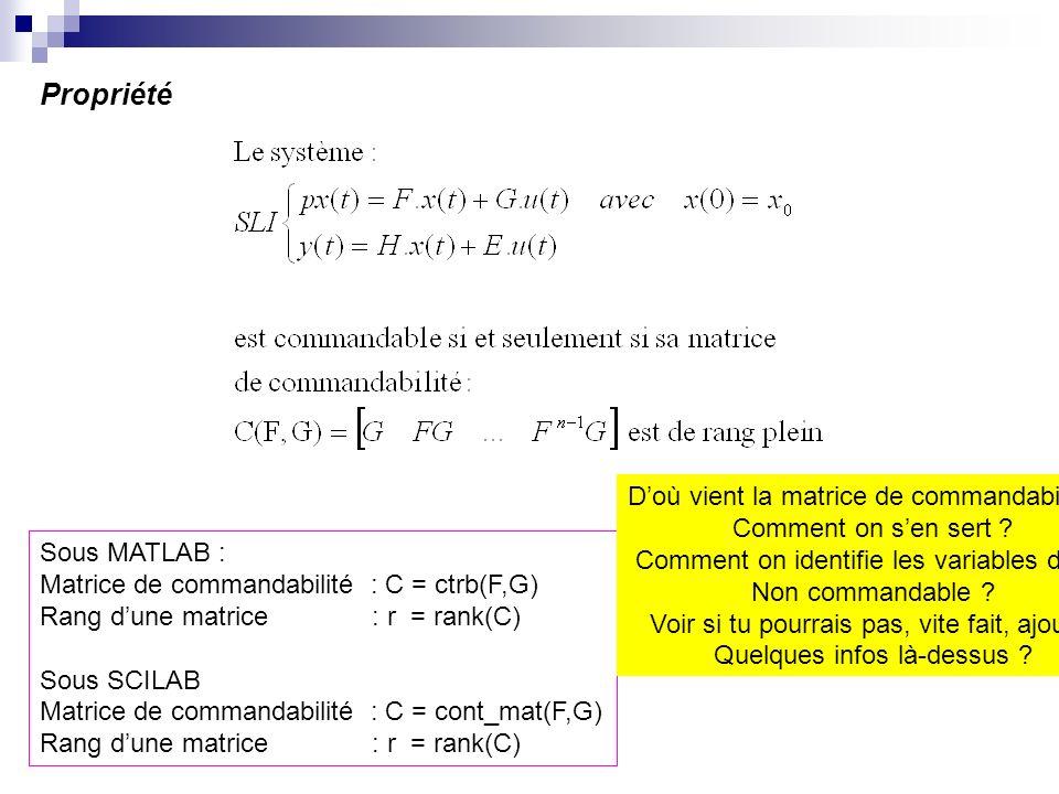 Propriété Sous MATLAB : Matrice de commandabilité : C = ctrb(F,G) Rang dune matrice : r = rank(C) Sous SCILAB Matrice de commandabilité : C = cont_mat