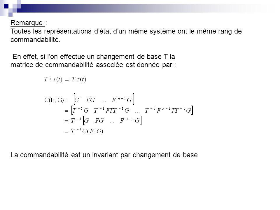 Remarque : Toutes les représentations détat dun même système ont le même rang de commandabilité. En effet, si lon effectue un changement de base T la