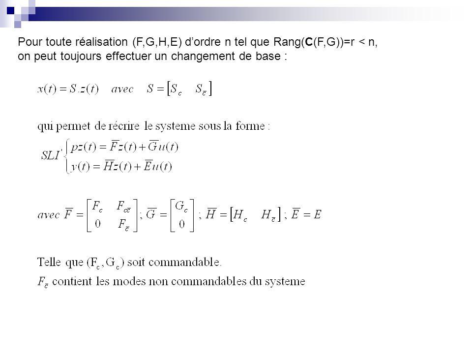 Pour toute réalisation (F,G,H,E) dordre n tel que Rang(C(F,G))=r < n, on peut toujours effectuer un changement de base :