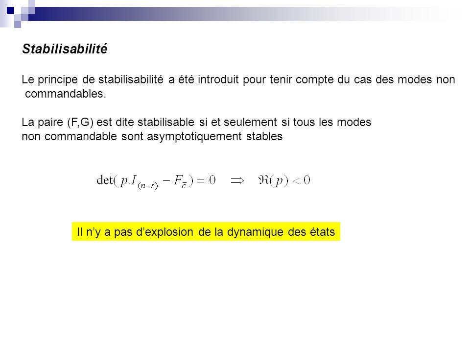 Stabilisabilité Le principe de stabilisabilité a été introduit pour tenir compte du cas des modes non commandables. La paire (F,G) est dite stabilisab
