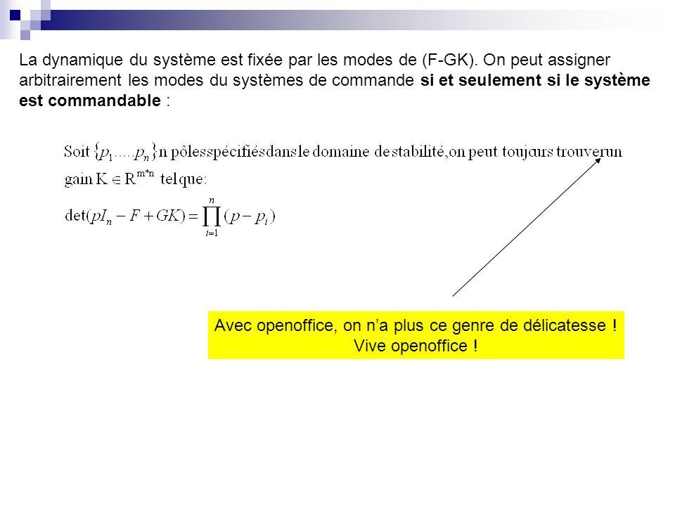 La dynamique du système est fixée par les modes de (F-GK). On peut assigner arbitrairement les modes du systèmes de commande si et seulement si le sys