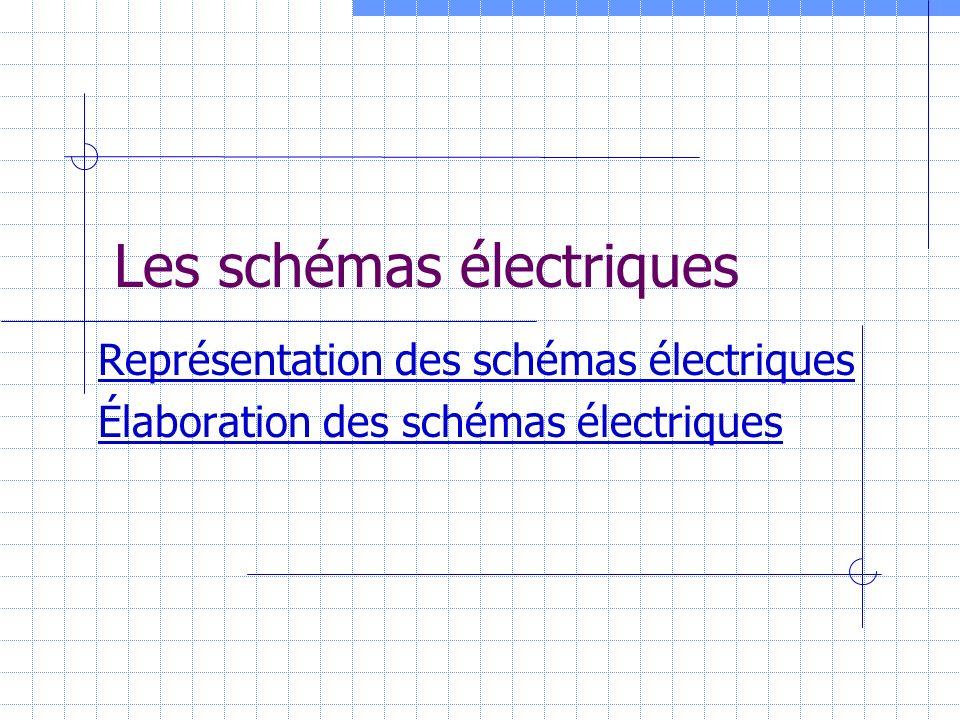 Représentation des schémas électriques La représentation se fait toujours hors tension dans les conditions initiales.