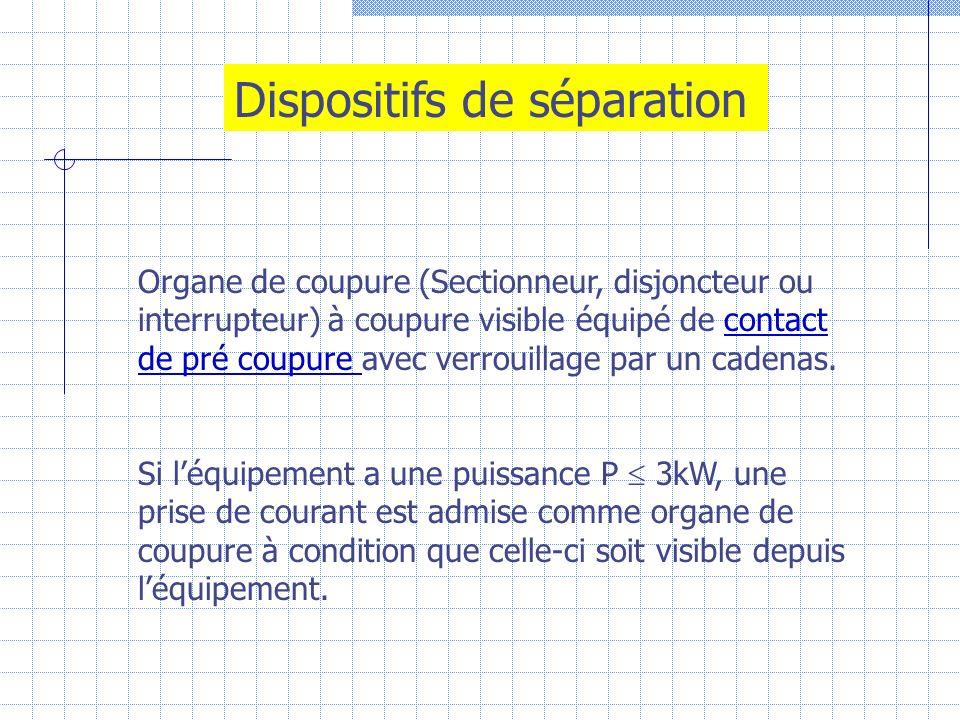 Dispositifs de séparation Organe de coupure (Sectionneur, disjoncteur ou interrupteur) à coupure visible équipé de contact de pré coupure avec verroui