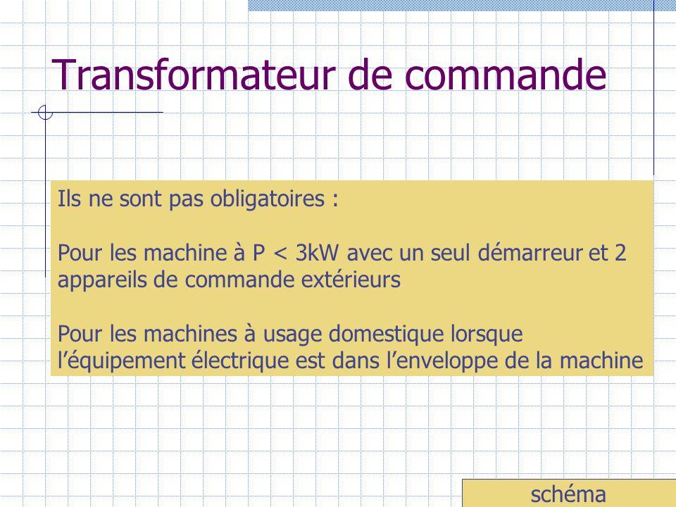 Transformateur de commande Ils ne sont pas obligatoires : Pour les machine à P < 3kW avec un seul démarreur et 2 appareils de commande extérieurs Pour