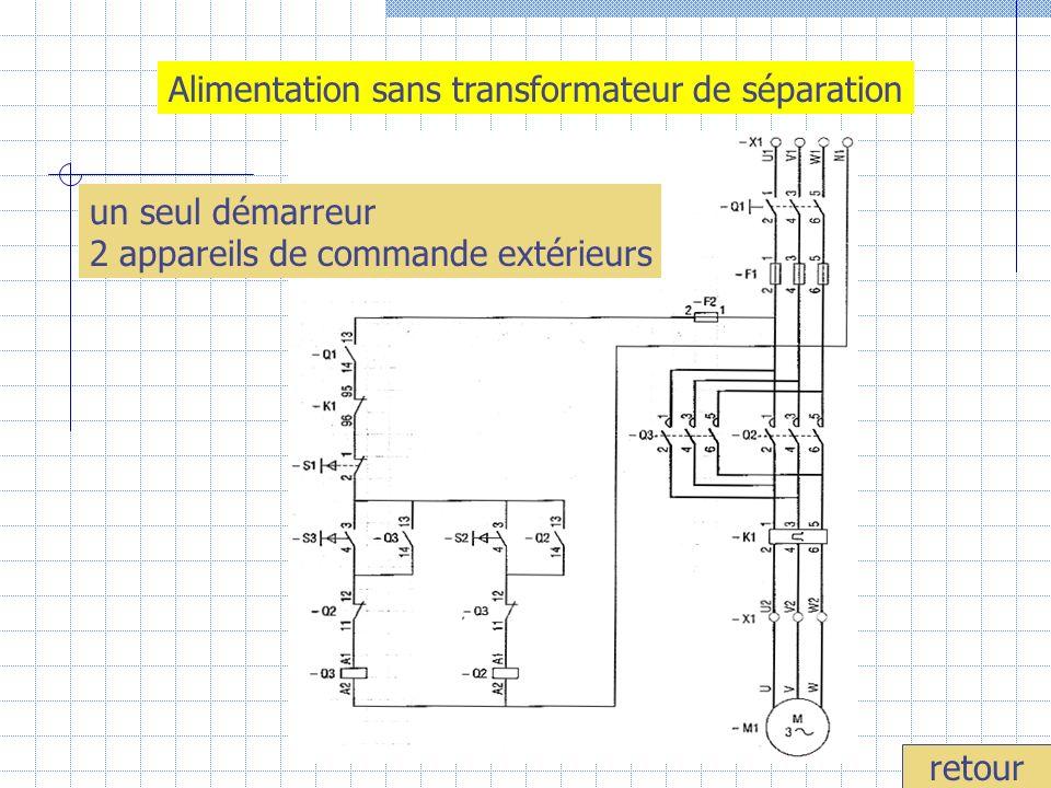 Alimentation sans transformateur de séparation retour un seul démarreur 2 appareils de commande extérieurs
