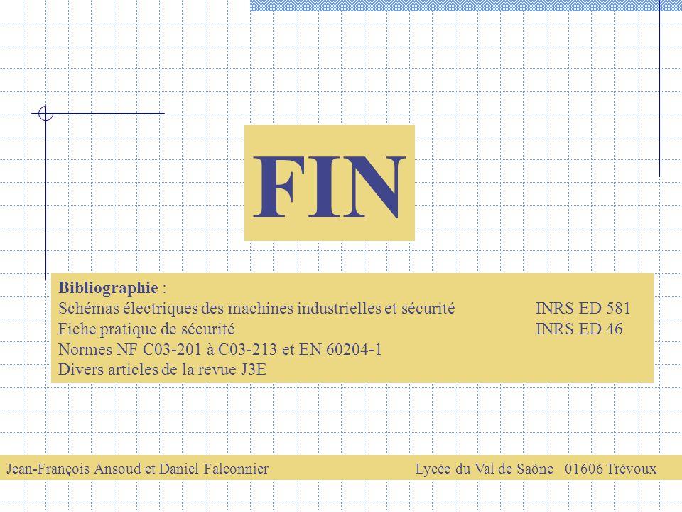 FIN Jean-François Ansoud et Daniel FalconnierLycée du Val de Saône 01606 Trévoux Bibliographie : Schémas électriques des machines industrielles et séc