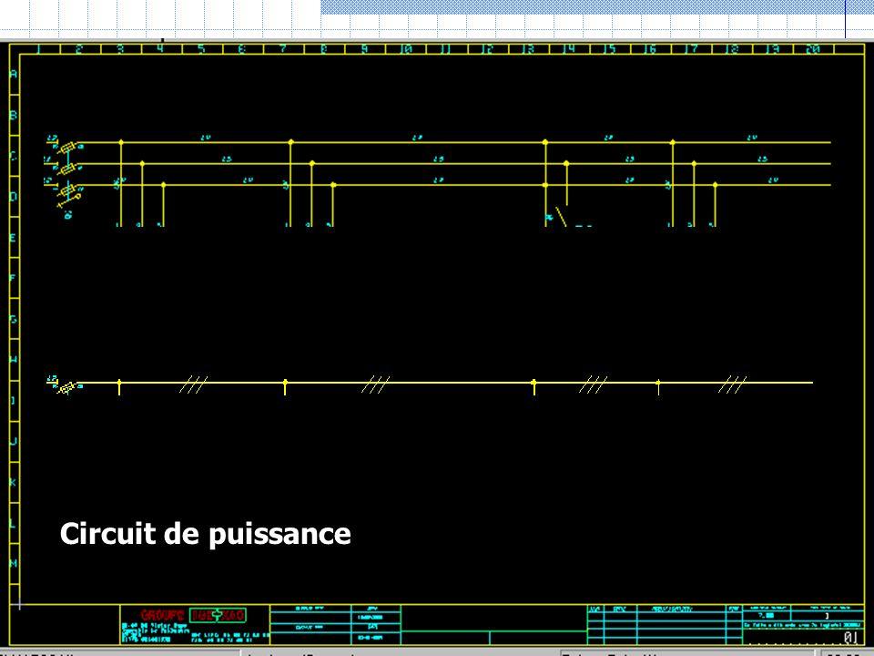 Circuit de commande Polarité + ou phase Polarité – ou commun Zone des contacts de commande ou protections