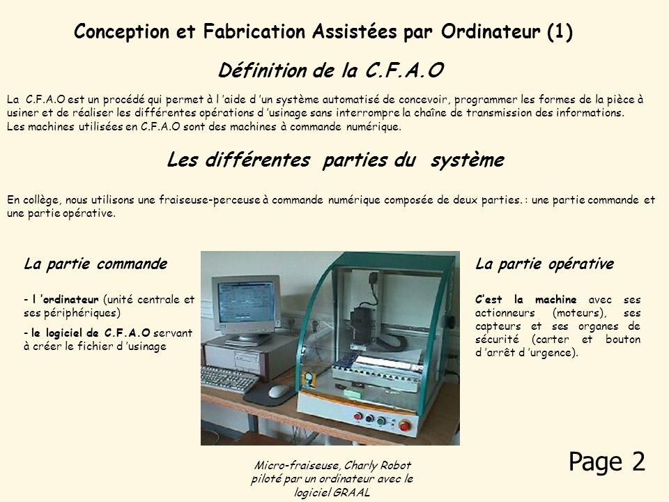 Conception et Fabrication Assistées par Ordinateur (1) En collège, nous utilisons une fraiseuse-perceuse à commande numérique composée de deux parties.