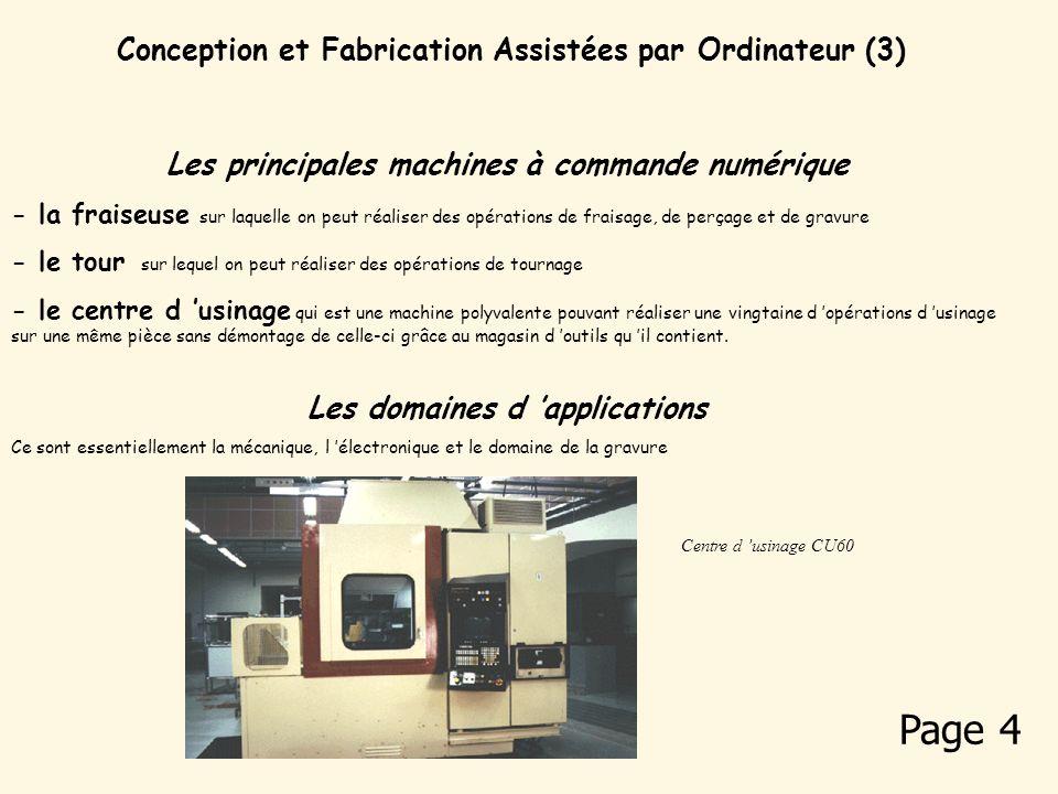 Conception et Fabrication Assistées par Ordinateur (2) Le principe : La commande numérique avec calculateur va gérer et déterminer tous les déplacemen