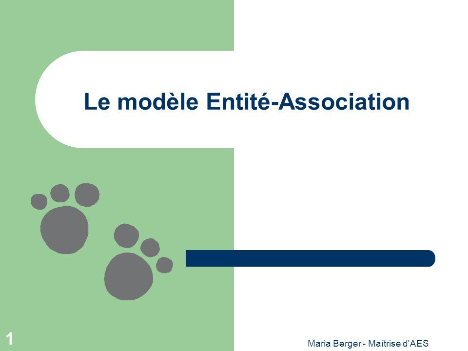 Maria Berger - Maîtrise d AES 12 Entités vs Associations Il est difficile de faire une distinction entre les 2 concepts.