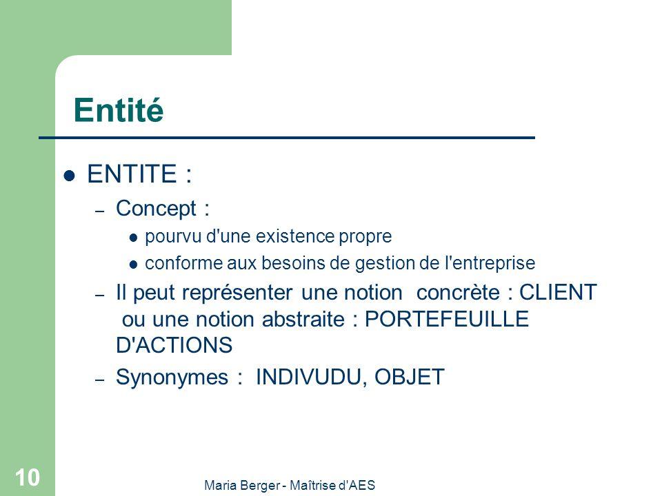 Maria Berger - Maîtrise d'AES 10 Entité ENTITE : – Concept : pourvu d'une existence propre conforme aux besoins de gestion de l'entreprise – Il peut r