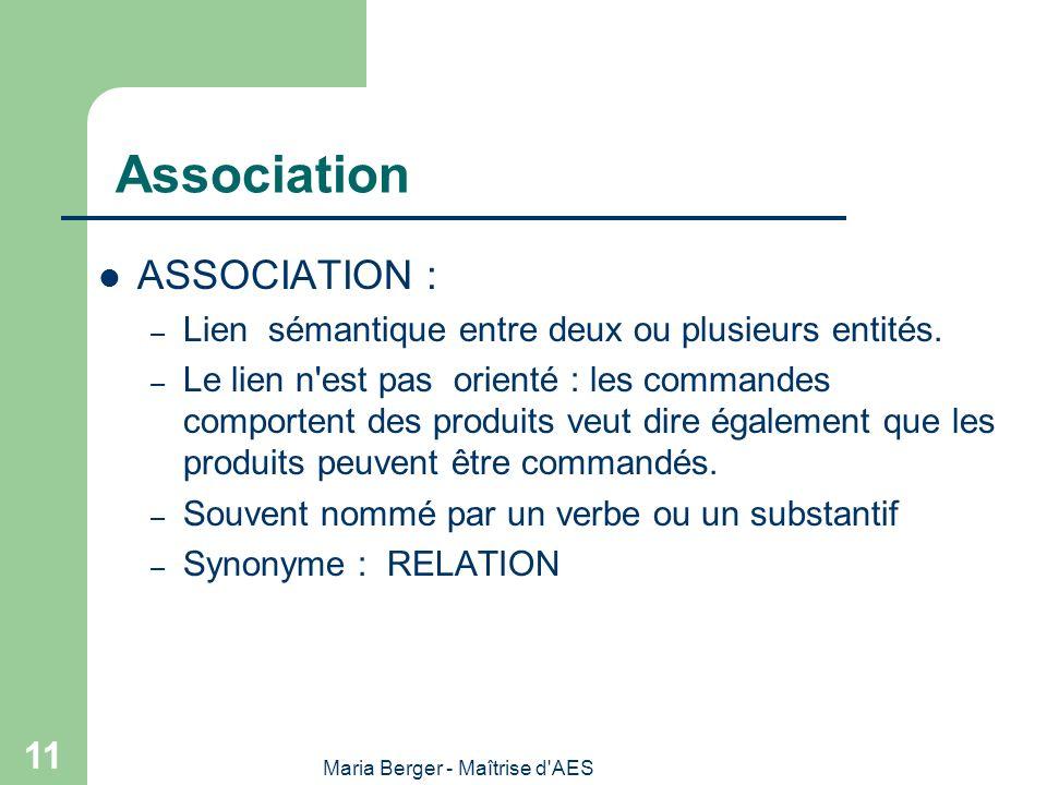 Maria Berger - Maîtrise d'AES 11 Association ASSOCIATION : – Lien sémantique entre deux ou plusieurs entités. – Le lien n'est pas orienté : les comman