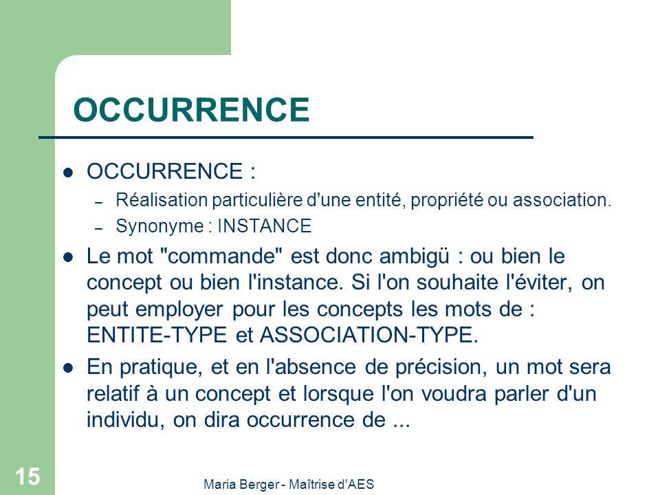 Maria Berger - Maîtrise d'AES 15 OCCURRENCE OCCURRENCE : – Réalisation particulière d'une entité, propriété ou association. – Synonyme : INSTANCE Le m