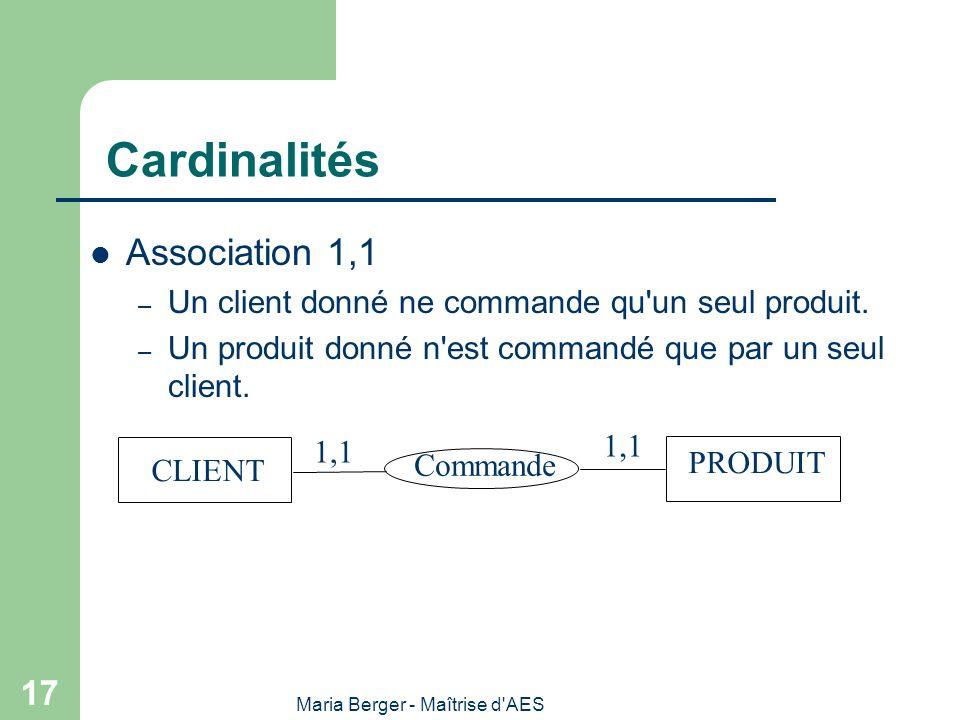 Maria Berger - Maîtrise d'AES 17 Cardinalités Association 1,1 – Un client donné ne commande qu'un seul produit. – Un produit donné n'est commandé que