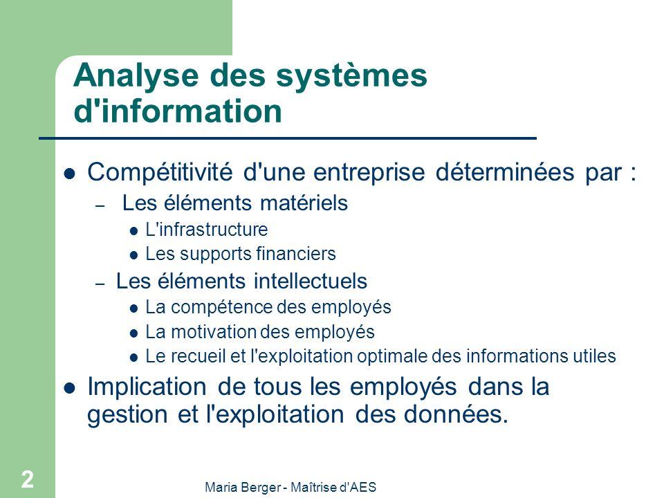 Maria Berger - Maîtrise d'AES 2 Analyse des systèmes d'information Compétitivité d'une entreprise déterminées par : – Les éléments matériels L'infrast