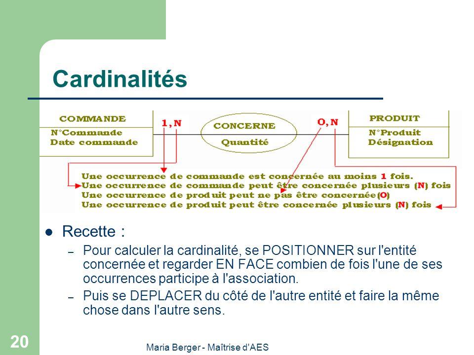 Maria Berger - Maîtrise d'AES 20 Cardinalités Recette : – Pour calculer la cardinalité, se POSITIONNER sur l'entité concernée et regarder EN FACE comb