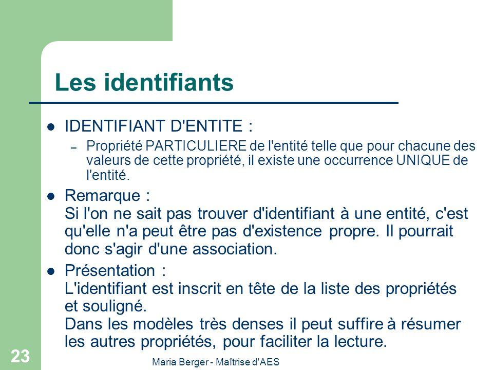 Maria Berger - Maîtrise d'AES 23 Les identifiants IDENTIFIANT D'ENTITE : – Propriété PARTICULIERE de l'entité telle que pour chacune des valeurs de ce