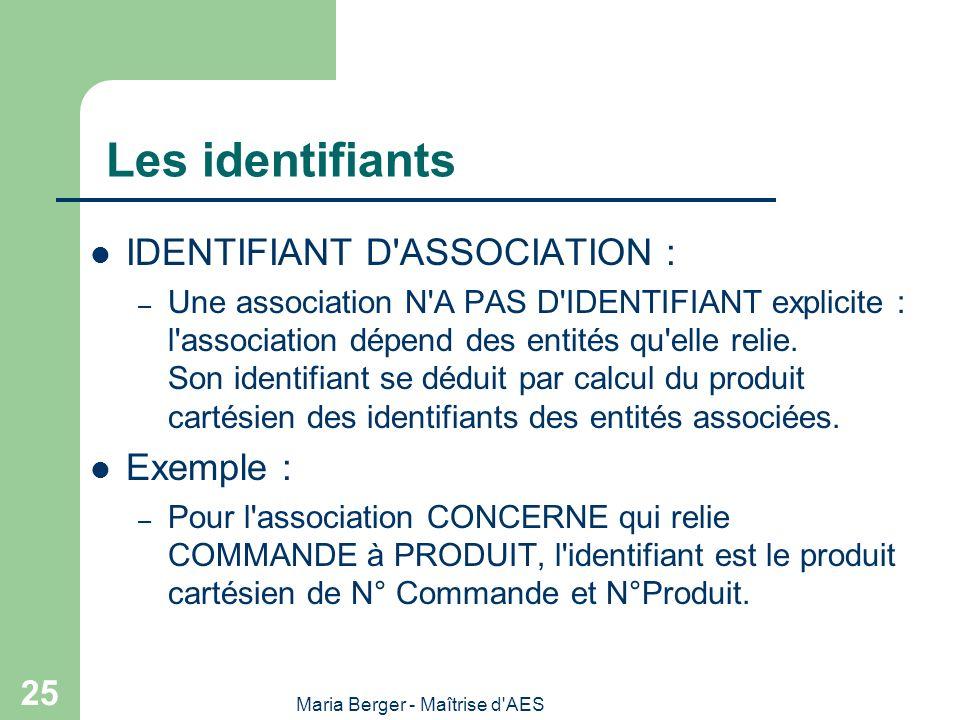 Maria Berger - Maîtrise d'AES 25 Les identifiants IDENTIFIANT D'ASSOCIATION : – Une association N'A PAS D'IDENTIFIANT explicite : l'association dépend