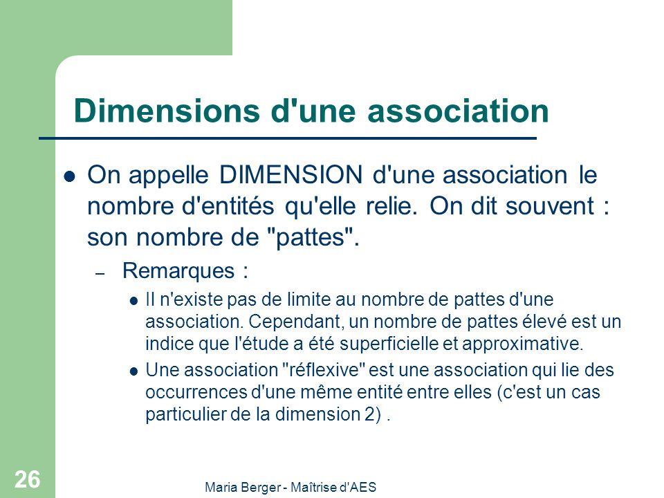 Maria Berger - Maîtrise d'AES 26 Dimensions d'une association On appelle DIMENSION d'une association le nombre d'entités qu'elle relie. On dit souvent