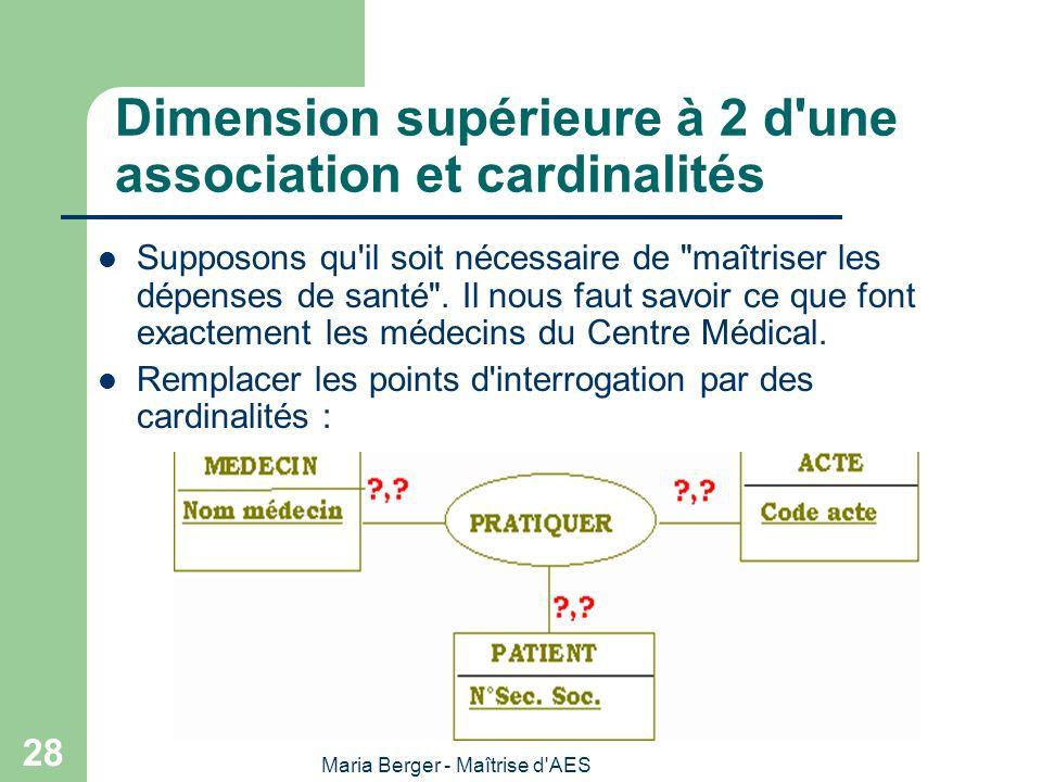 Maria Berger - Maîtrise d'AES 28 Dimension supérieure à 2 d'une association et cardinalités Supposons qu'il soit nécessaire de